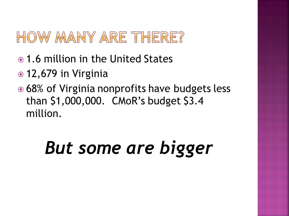  1.6 million in the United States  12,679 in Virginia  68% of Virginia nonprofits have budgets less than $1,000,000.