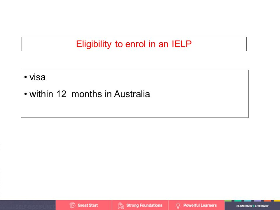 visa within 12 months in Australia Eligibility to enrol in an IELP