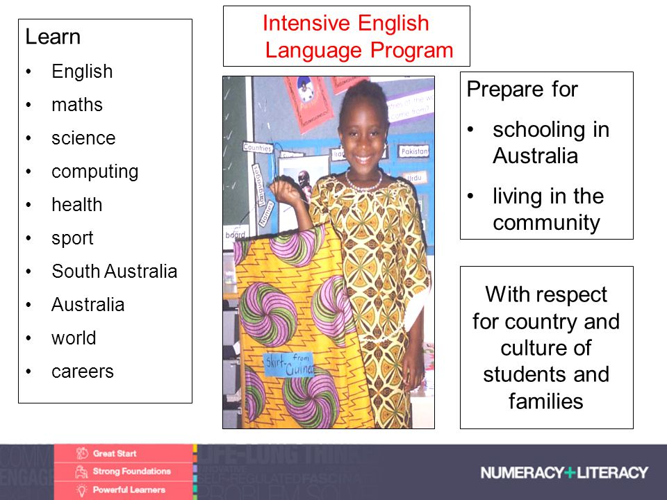 Transition from IELP Local schools - district zones Vocational Training – TAFE Work – part time, full time Transition is supported by IELP leaders and teachers school counsellors Community Liaison Officers –Serbian, Bosnian, Khmer, Arabic & Kurdish, Spanish communities, African communities