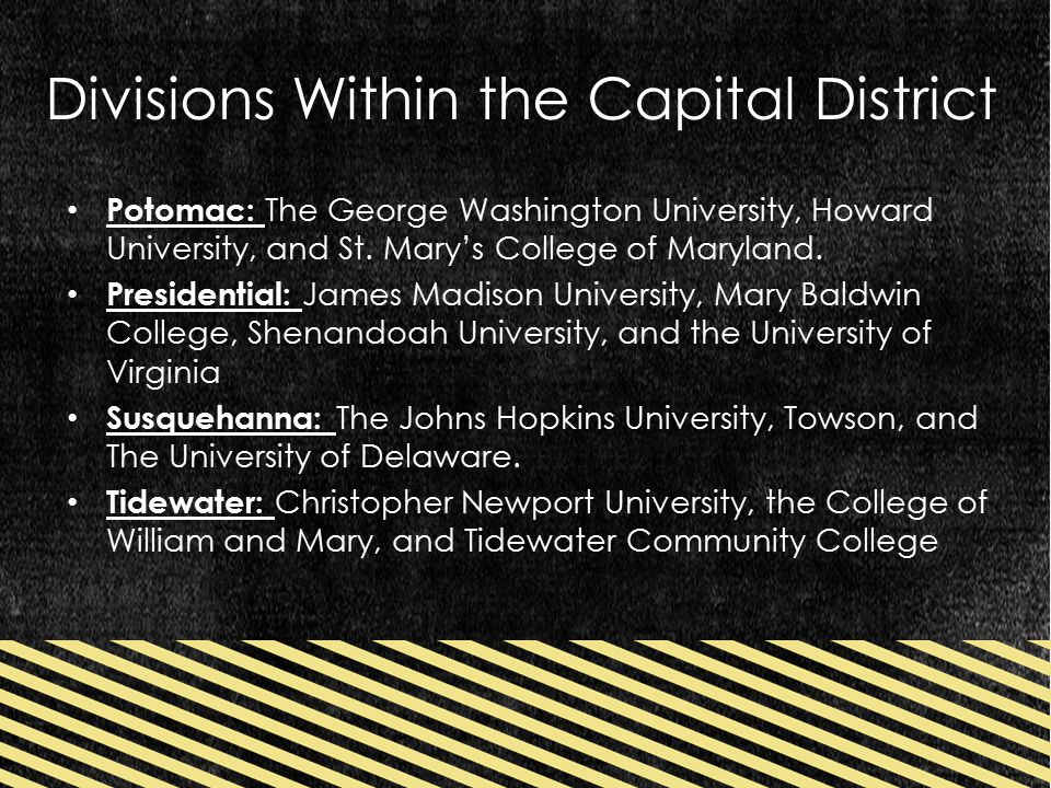 Divisions Within the Capital District Potomac: The George Washington University, Howard University, and St.