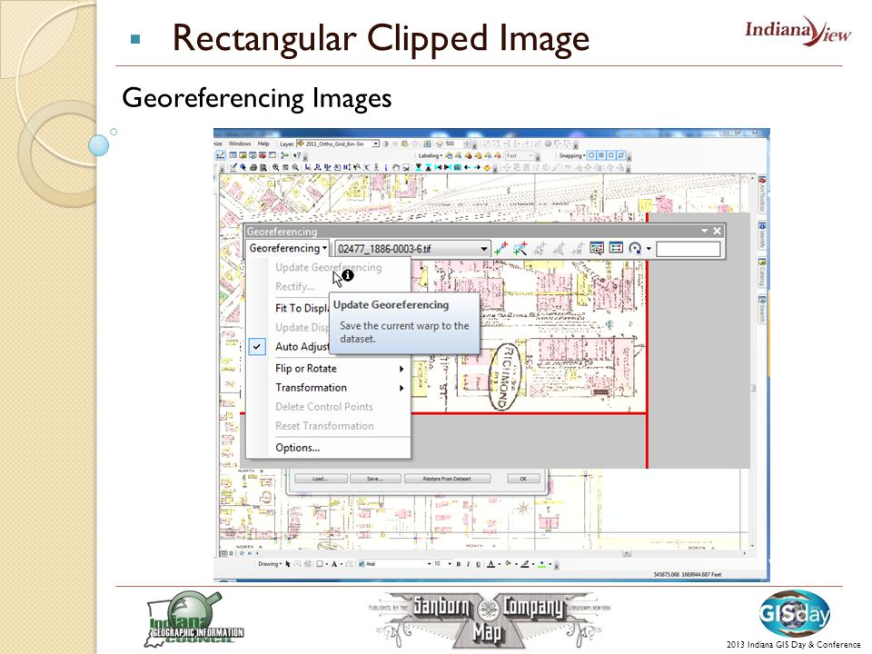  Rectangular Clipped Image 2013 Indiana GIS Day & Conference Georeferencing Images
