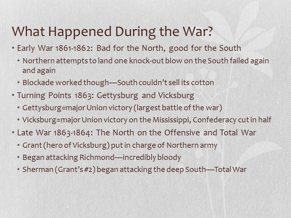 What Happened During the War.