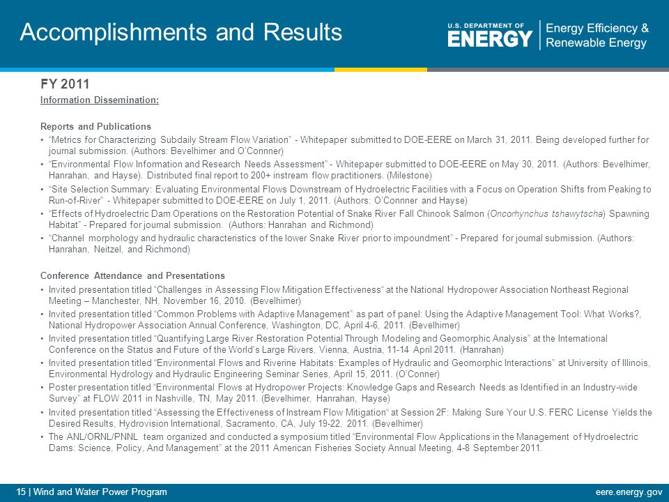 15 | Wind and Water Power Programeere.energy.gov Accomplishments and Results FY 2011 Information Dissemination: Reports and Publications Metrics for Characterizing Subdaily Stream Flow Variation - Whitepaper submitted to DOE-EERE on March 31, 2011.