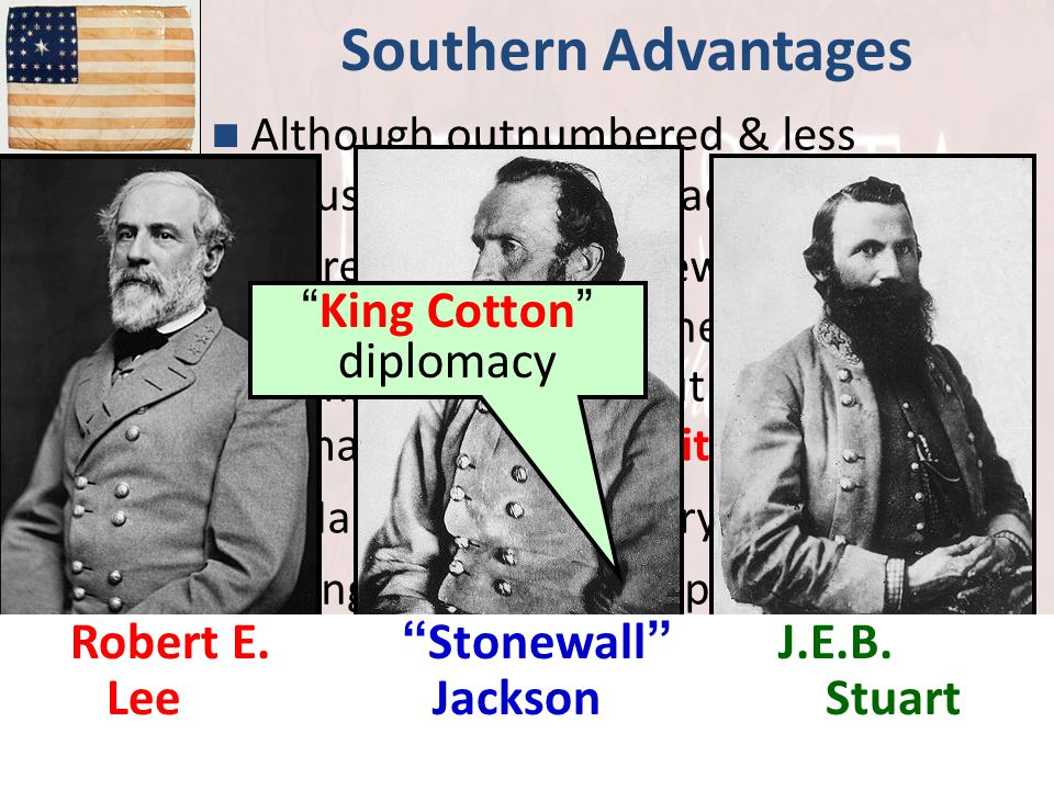 "Southern Advantages Although outnumbered & less industrial, South had advantages: –President Davis knew that they did not have to "" win "" the war; the"