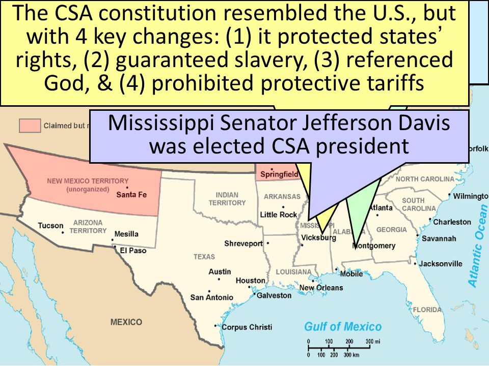 The Start of the Civil War, 1861 When Lincoln was elected in 1860, 7 Southern states seceded from the Union & formed the Confederate States of America The Civil War began when Fort Sumter was fired upon by Confederate soldiers 4 more Southern states seceded in 1861 when Lincoln called for military volunteers to preserve the Union