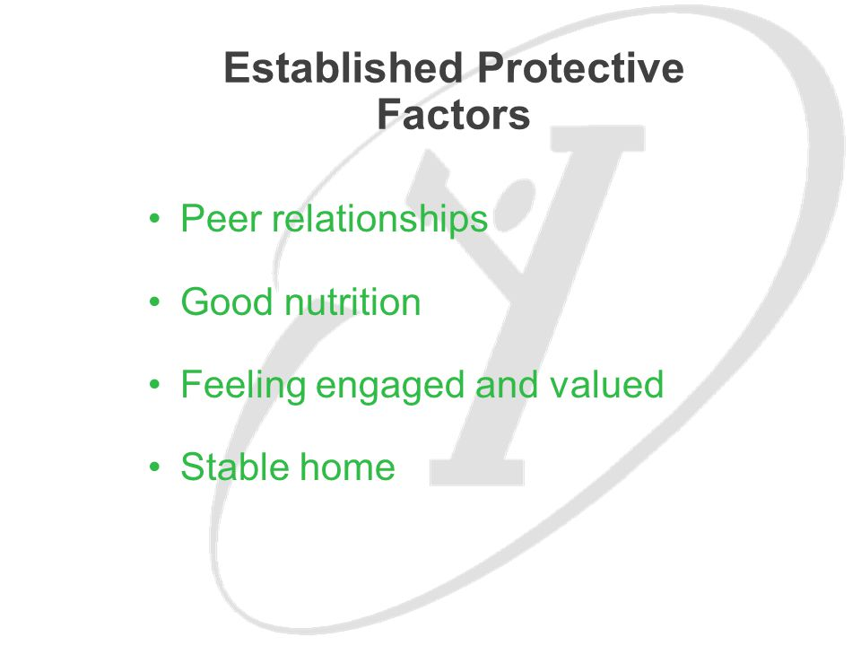 Peer relationships Good nutrition Feeling engaged and valued Stable home Established Protective Factors