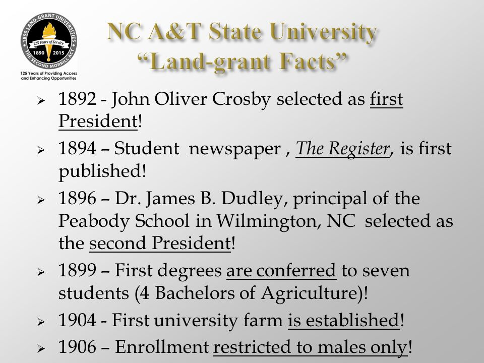  1892 - John Oliver Crosby selected as first President!  1894 – Student newspaper, The Register, is first published!  1896 – Dr. James B. Dudley, p