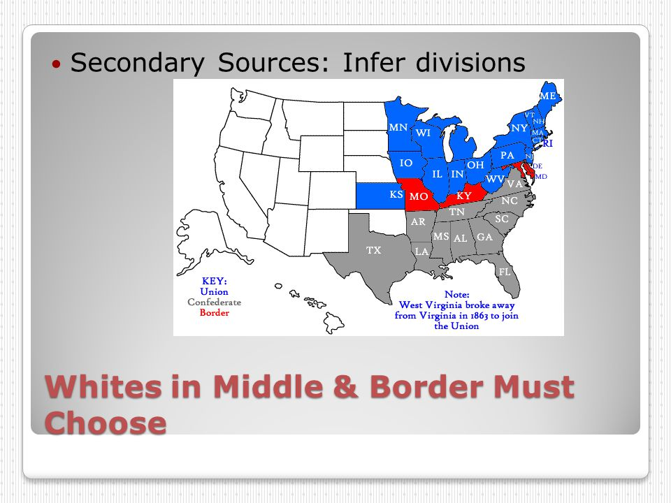Whites in Middle & Border Must Choose Secondary Sources: Infer divisions