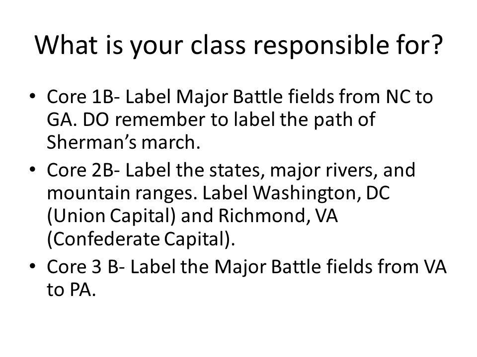 What is your class responsible for. Core 1B- Label Major Battle fields from NC to GA.