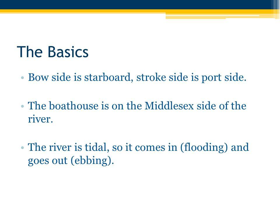 The Basics Bow side is starboard, stroke side is port side.
