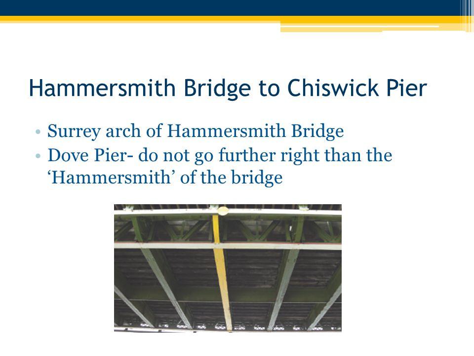Hammersmith Bridge to Chiswick Pier Surrey arch of Hammersmith Bridge Dove Pier- do not go further right than the 'Hammersmith' of the bridge
