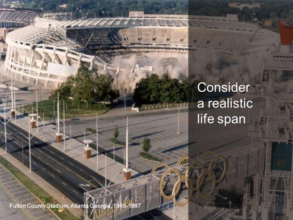 Consider a realistic life span Fulton County Stadium, Atlanta Georgia, 1965-1997