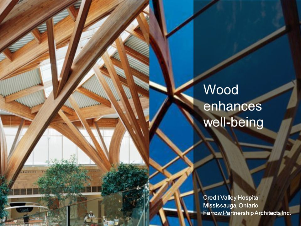 Wood enhances well-being Credit Valley Hospital Mississauga, Ontario Farrow Partnership Architects Inc.