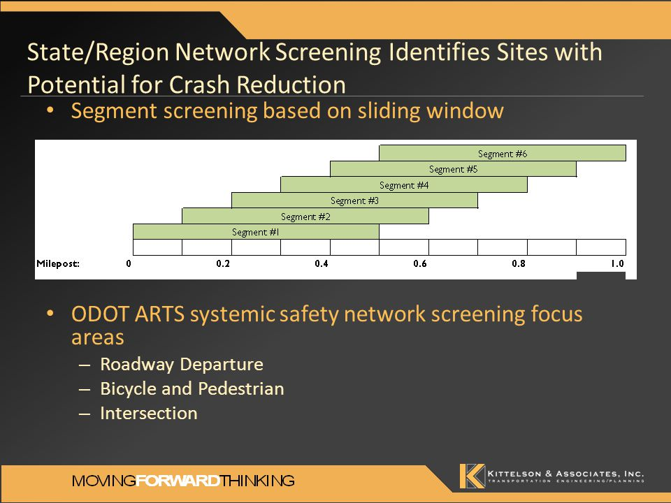 State/Region Network Screening Identifies Sites with Potential for Crash Reduction Segment screening based on sliding window ODOT ARTS systemic safety network screening focus areas – Roadway Departure – Bicycle and Pedestrian – Intersection