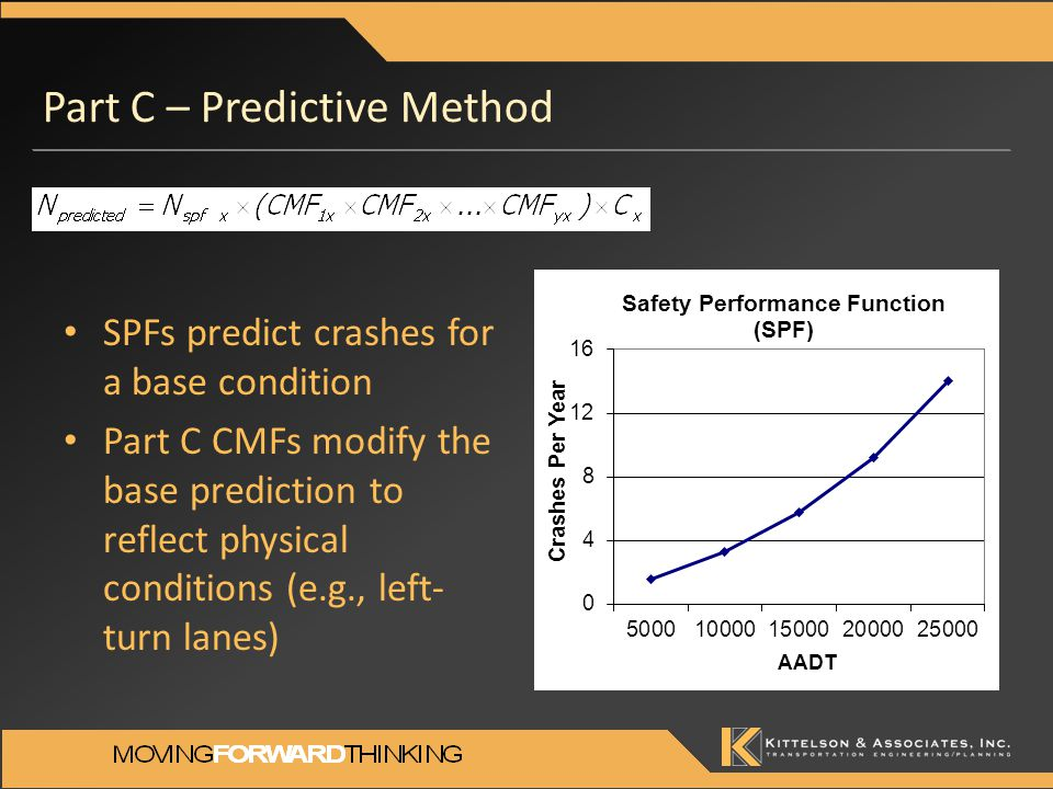 SPFs predict crashes for a base condition Part C CMFs modify the base prediction to reflect physical conditions (e.g., left- turn lanes) Part C – Predictive Method