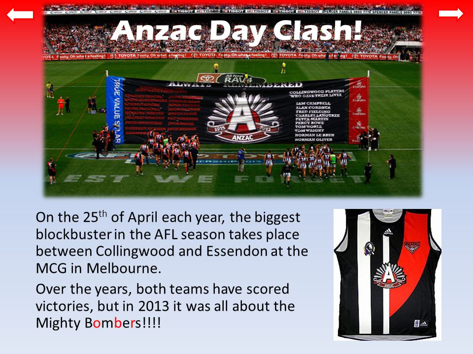 Anzac Day Clash.