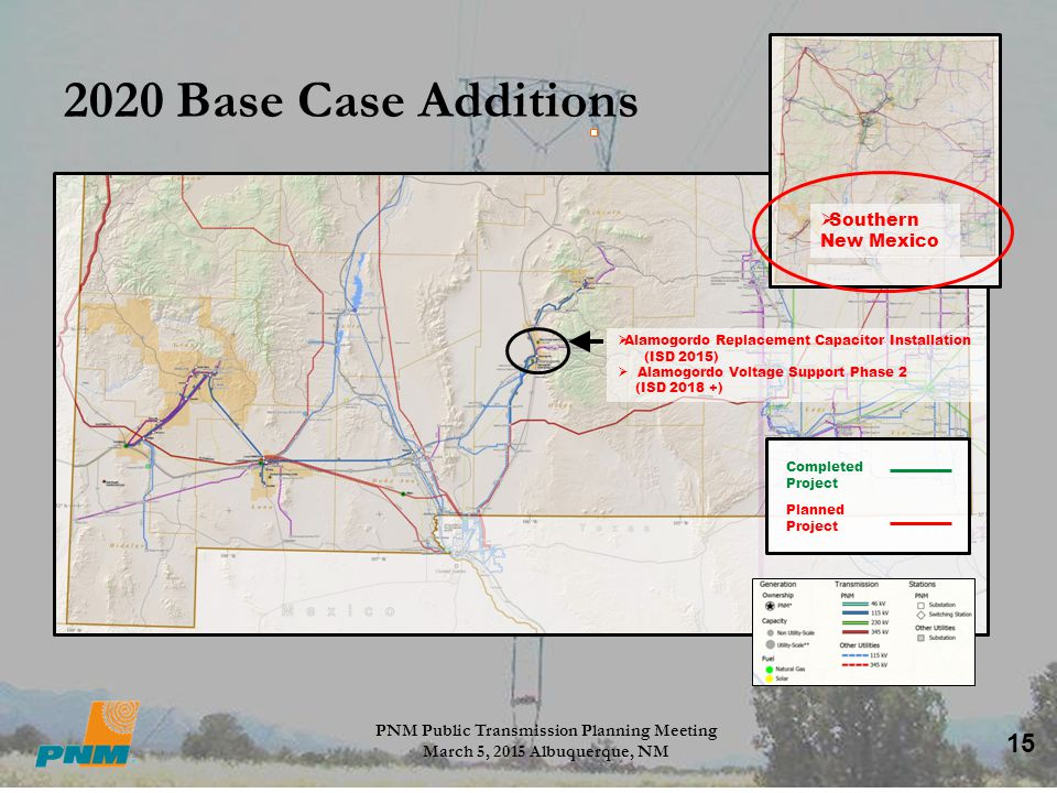 15 2020 Base Case Additions PNM Public Transmission Planning Meeting March 5, 2015 Albuquerque, NM  Southern New Mexico Completed Project Planned Pro