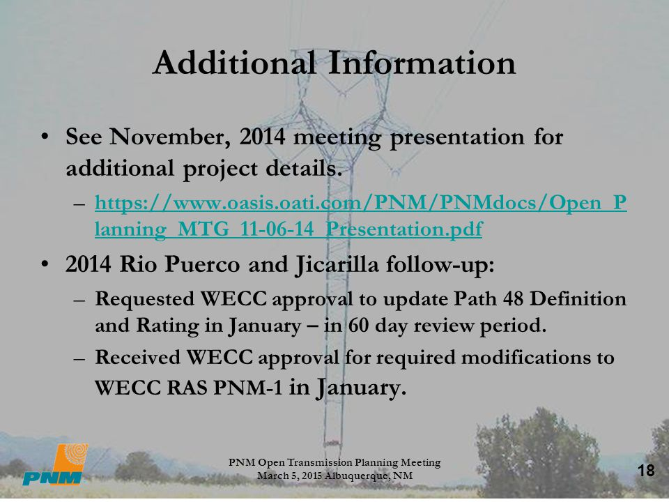 18 Additional Information See November, 2014 meeting presentation for additional project details. –https://www.oasis.oati.com/PNM/PNMdocs/Open_P lanni