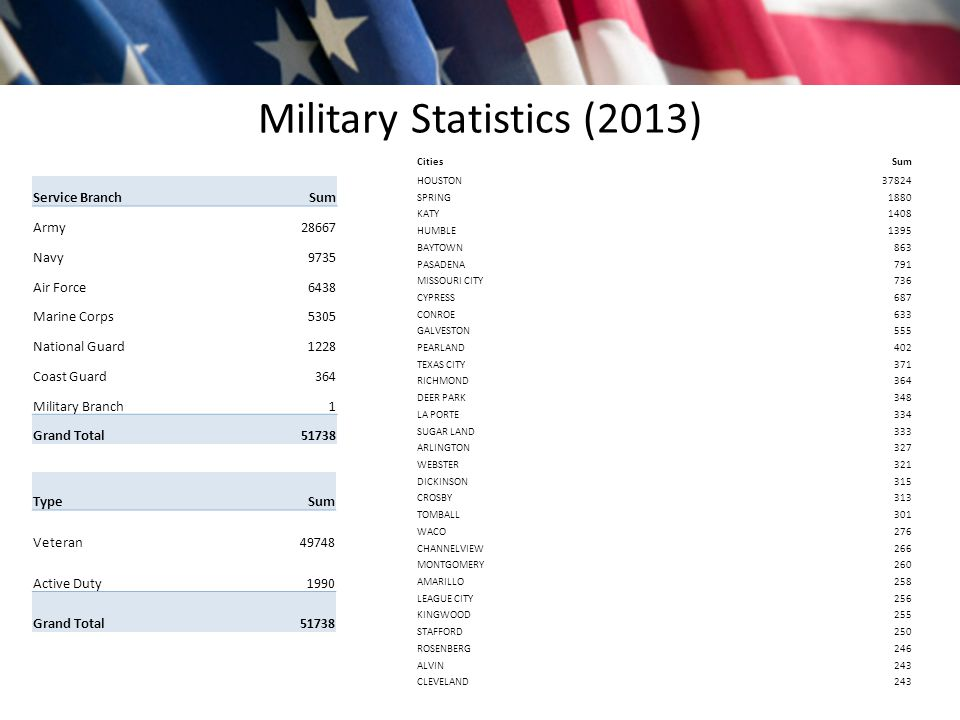 Military Statistics (2013) CitiesSum HOUSTON37824 SPRING1880 KATY1408 HUMBLE1395 BAYTOWN863 PASADENA791 MISSOURI CITY736 CYPRESS687 CONROE633 GALVESTON555 PEARLAND402 TEXAS CITY371 RICHMOND364 DEER PARK348 LA PORTE334 SUGAR LAND333 ARLINGTON327 WEBSTER321 DICKINSON315 CROSBY313 TOMBALL301 WACO276 CHANNELVIEW266 MONTGOMERY260 AMARILLO258 LEAGUE CITY256 KINGWOOD255 STAFFORD250 ROSENBERG246 ALVIN243 CLEVELAND243 TypeSum Veteran49748 Active Duty1990 Grand Total51738 Service BranchSum Army28667 Navy9735 Air Force6438 Marine Corps5305 National Guard1228 Coast Guard364 Military Branch1 Grand Total51738