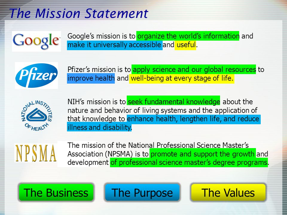 The Mission Statement Google's mission is to organize the world's information and make it universally accessible and useful.