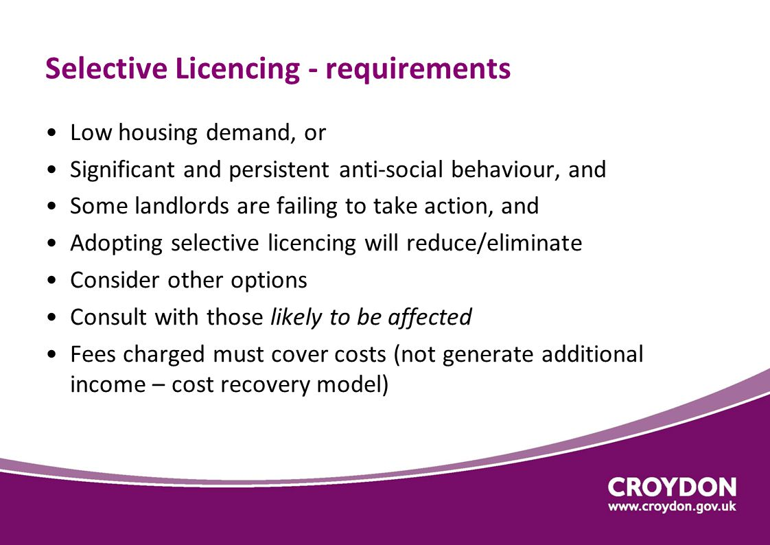 Why consider selective licensing in Croydon.
