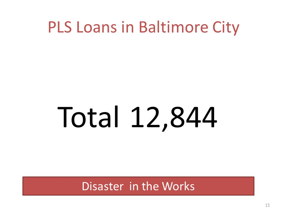 PLS Loans in Baltimore City Total12,844 15 Disaster in the Works