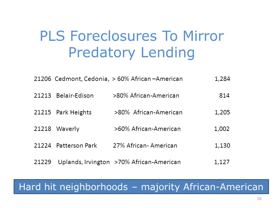 Hard hit neighborhoods – majority African-American 16 PLS Foreclosures To Mirror Predatory Lending 21206 Cedmont, Cedonia, > 60% African –American1,284 21213 Belair-Edison >80% African-American 814 21215 Park Heights >80% African-American1,205 21218 Waverly >60% African-American 1,002 21224 Patterson Park 27% African- American1,130 21229 Uplands, Irvington >70% African-American 1,127