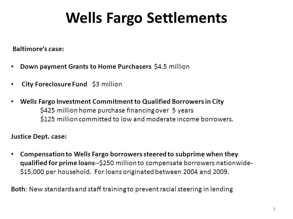 Wells Fargo Settlements 9 Baltimore's case: Down payment Grants to Home Purchasers $4.5 million City Foreclosure Fund $3 million Wells Fargo Investment Commitment to Qualified Borrowers in City $425 million home purchase financing over 5 years $125 million committed to low and moderate income borrowers.