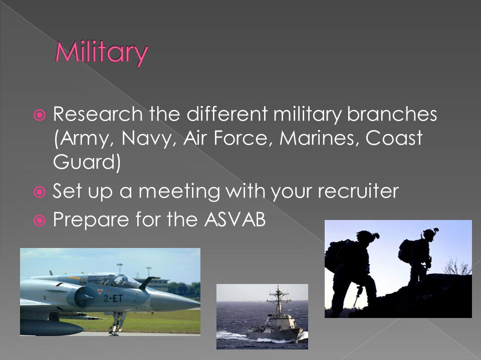 Research the different military branches (Army, Navy, Air Force, Marines, Coast Guard)  Set up a meeting with your recruiter  Prepare for the ASVAB