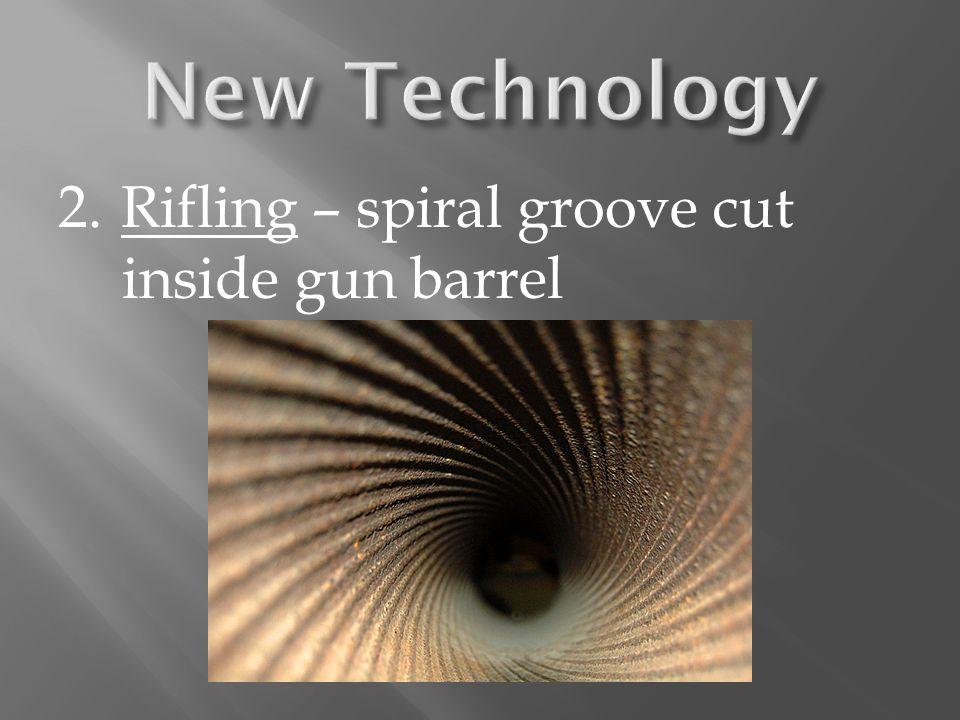 2. Rifling – spiral groove cut inside gun barrel
