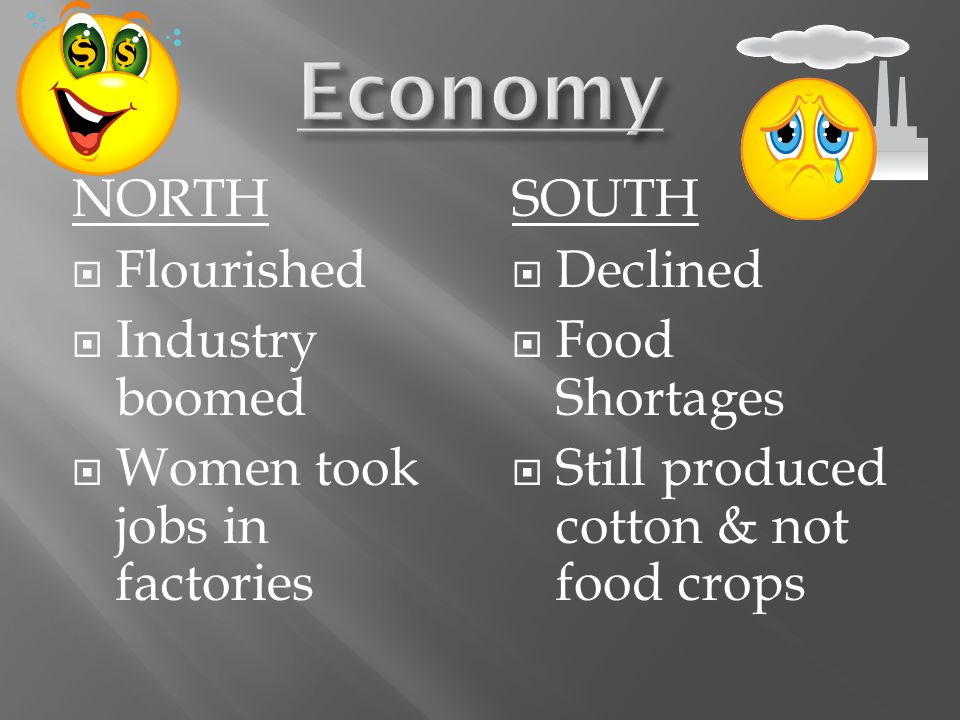 NORTH  Flourished  Industry boomed  Women took jobs in factories SOUTH  Declined  Food Shortages  Still produced cotton & not food crops