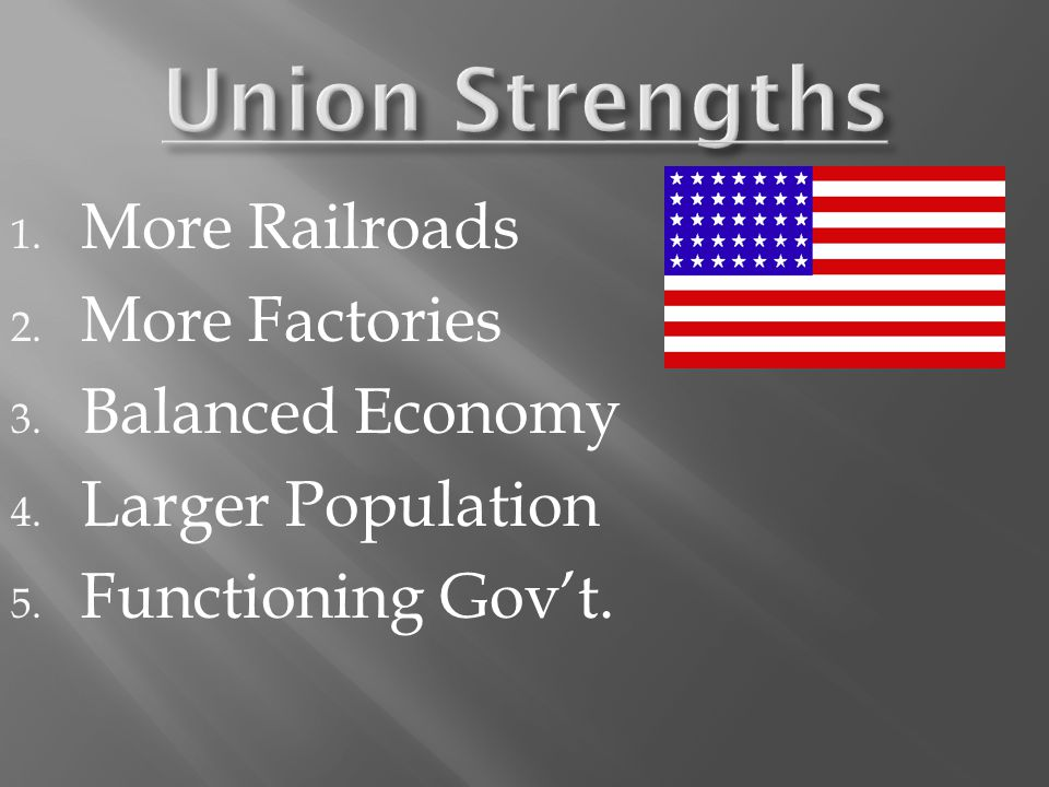 1. More Railroads 2. More Factories 3. Balanced Economy 4. Larger Population 5. Functioning Gov't.