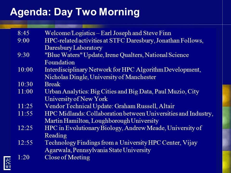 Agenda: Day Two Morning 8:45Welcome/Logistics – Earl Joseph and Steve Finn 9:00HPC-related activities at STFC Daresbury, Jonathan Follows, Daresbury L