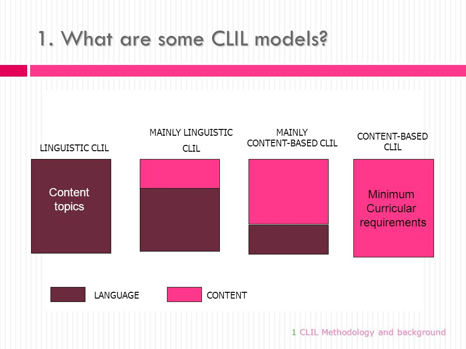 1. What are some CLIL models.