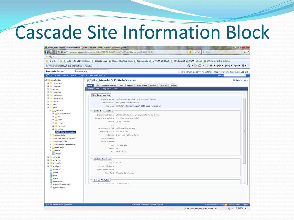 Cascade Site Information Block