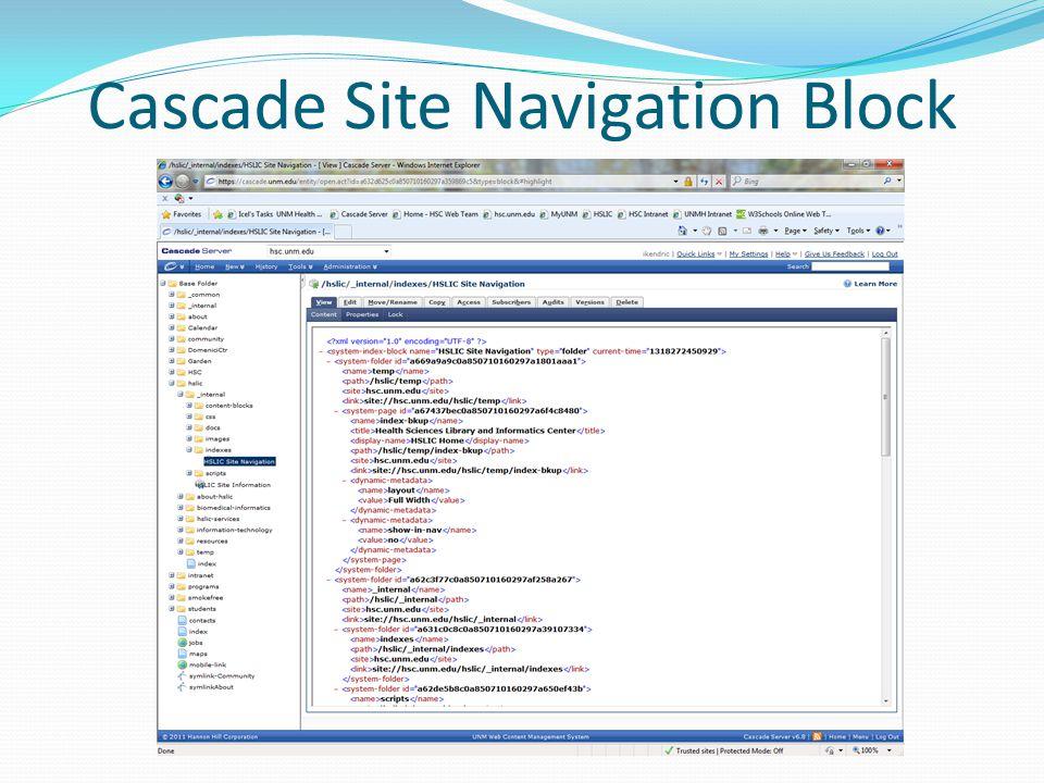 Cascade Site Navigation Block