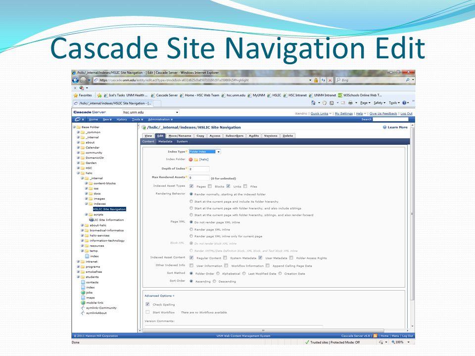 Cascade Site Navigation Edit