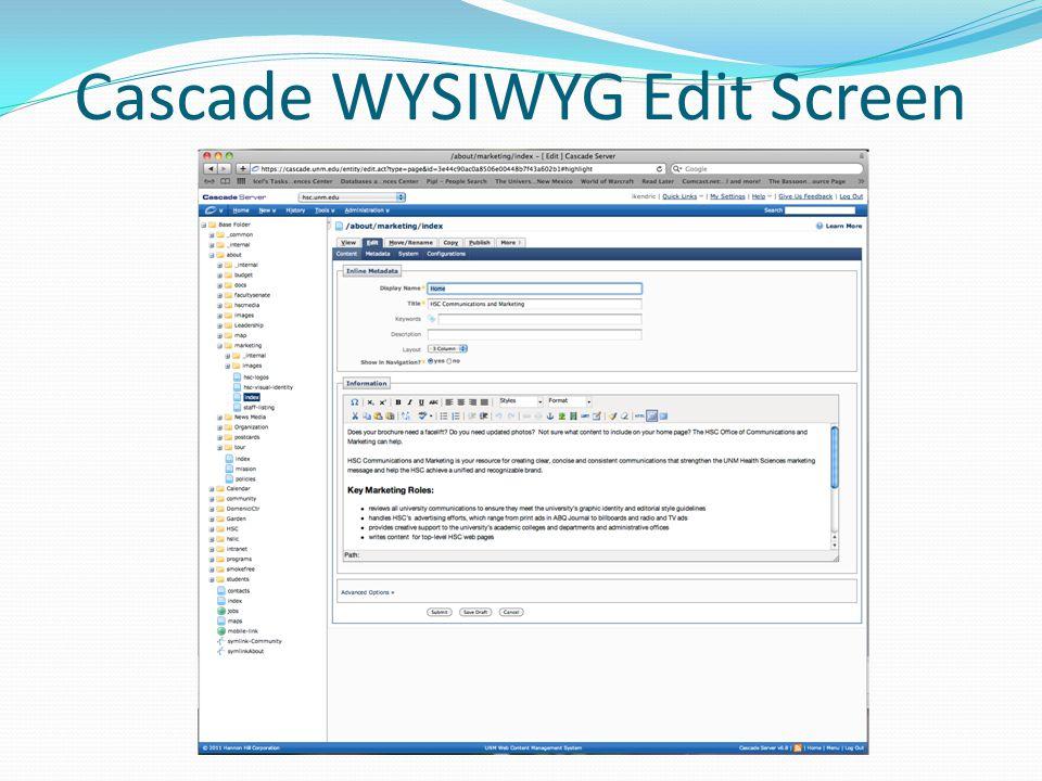Cascade WYSIWYG Edit Screen