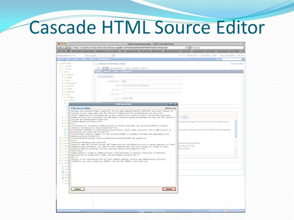 Cascade HTML Source Editor