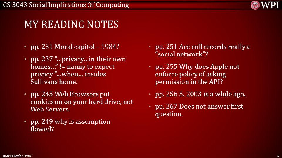 CS 3043 Social Implications Of Computing MY READING NOTES pp.