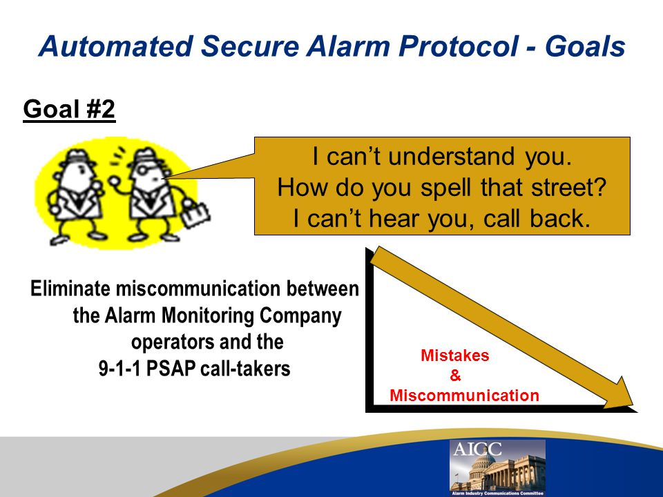 Automated Secure Alarm Protocol - Goals Goal #1 Eliminate the telephone calls between the Alarm Monitoring Company and the 9-1-1 PSAP Telephone Call V