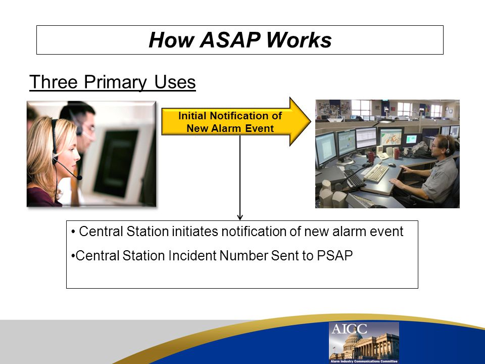 Automated Secure Alarm Protocol - Purpose To provide a standard data exchange for electronically transmitting information between an Alarm Monitoring