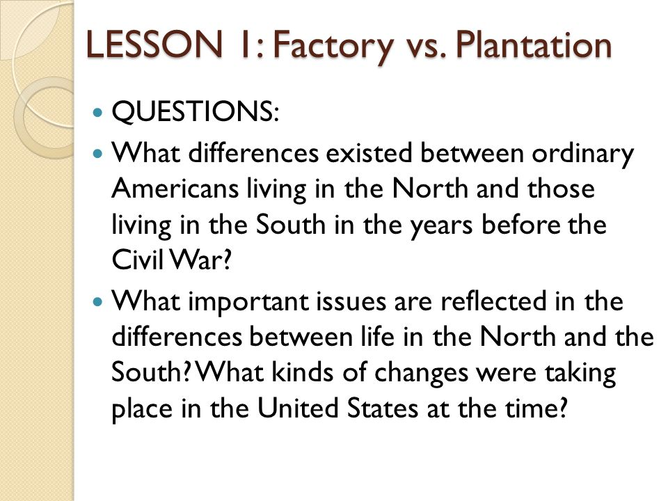 LESSON 1: Factory vs.