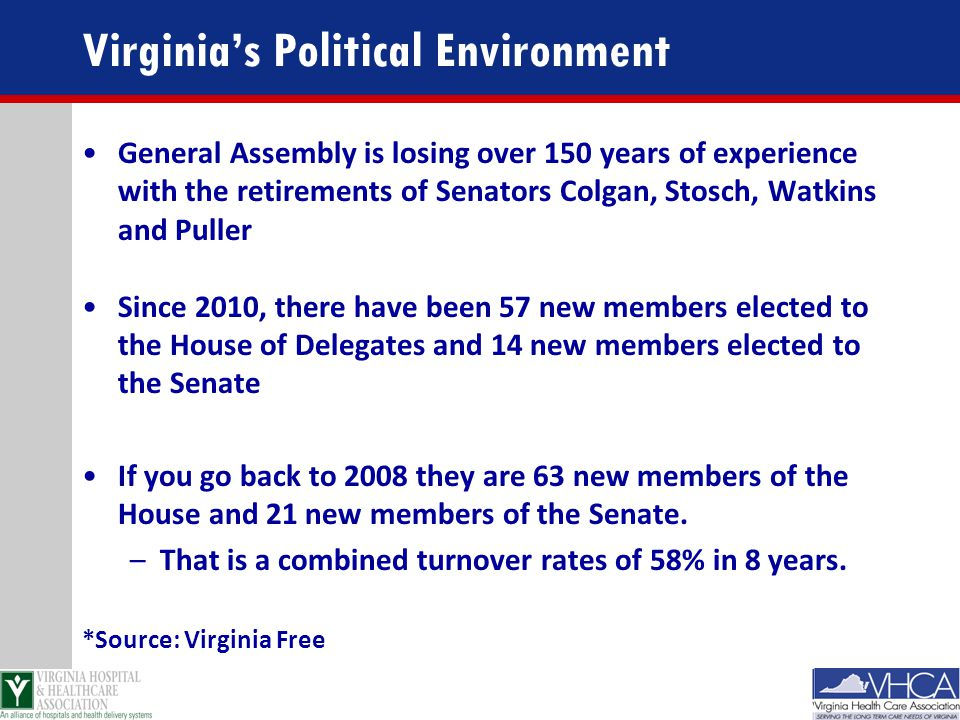 Virginia's Political Environment General Assembly is losing over 150 years of experience with the retirements of Senators Colgan, Stosch, Watkins and