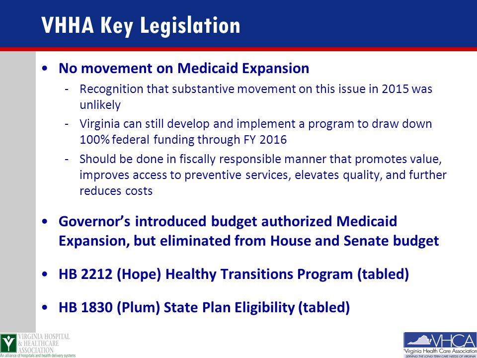 VHHA Key Legislation No movement on Medicaid Expansion -Recognition that substantive movement on this issue in 2015 was unlikely -Virginia can still d