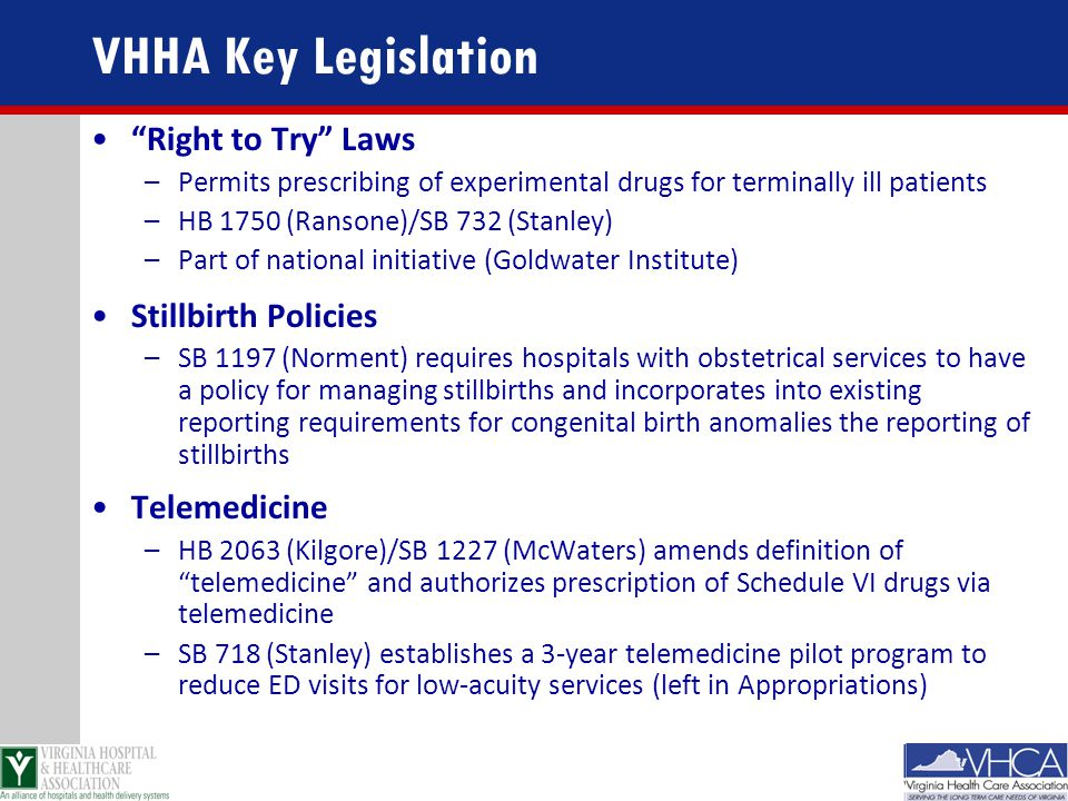 "VHHA Key Legislation ""Right to Try"" Laws –Permits prescribing of experimental drugs for terminally ill patients –HB 1750 (Ransone)/SB 732 (Stanley) –P"
