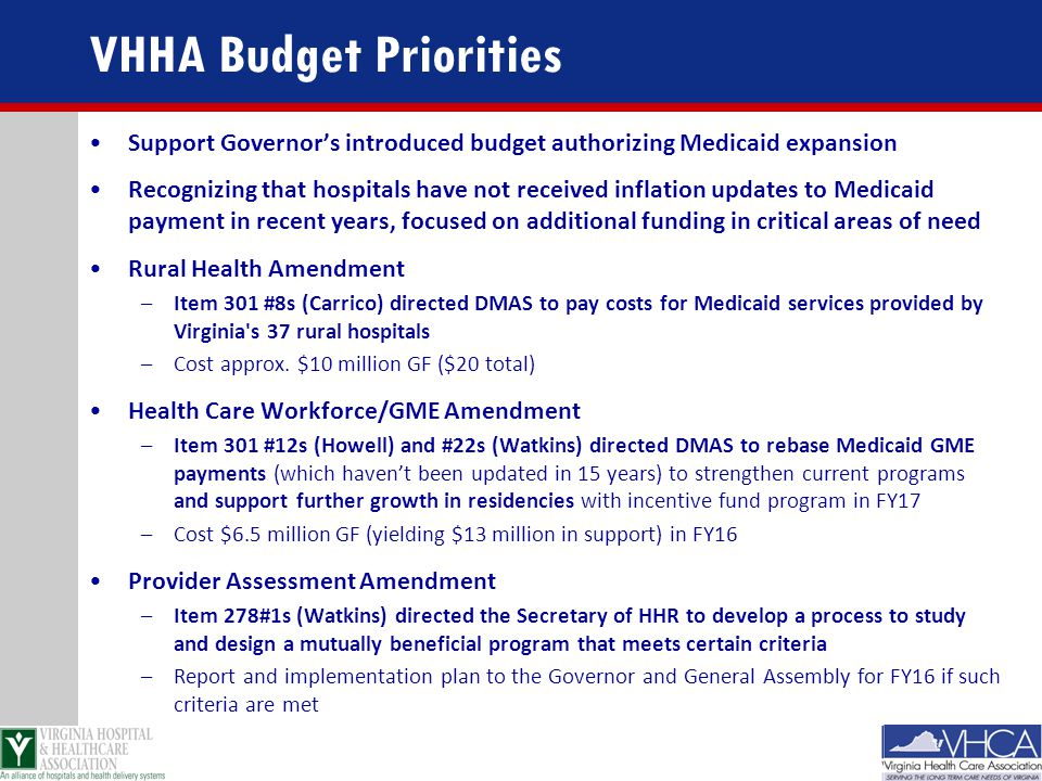 VHHA Budget Priorities Support Governor's introduced budget authorizing Medicaid expansion Recognizing that hospitals have not received inflation upda