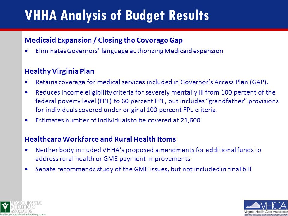 VHHA Analysis of Budget Results Medicaid Expansion / Closing the Coverage Gap Eliminates Governors' language authorizing Medicaid expansion Healthy Vi