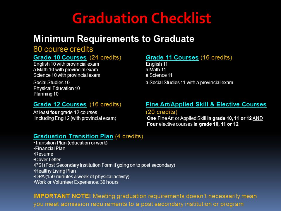 Graduation Checklist Minimum Requirements to Graduate 80 course credits Grade 10 Courses(24 credits)Grade 11 Courses (16 credits) English 10 with provincial examEnglish 11 a Math 10 with provincial exama Math 11 Science 10 with provincial exama Science 11 Social Studies 10a Social Studies 11 with a provincial exam Physical Education 10 Planning 10 Grade 12 Courses(16 credits) Fine Art/Applied Skill & Elective Courses At least four grade 12 courses (20 credits) including Eng 12 (with provincial exam) One Fine Art or Applied Skill in grade 10, 11 or 12 AND Four elective courses in grade 10, 11 or 12 Graduation Transition Plan (4 credits) Transition Plan (education or work) Financial Plan Resume Cover Letter PSI (Post Secondary Institution Form if going on to post secondary) Healthy Living Plan DPA (150 minutes a week of physical activity) Work or Volunteer Experience: 30 hours IMPORTANT NOTE.