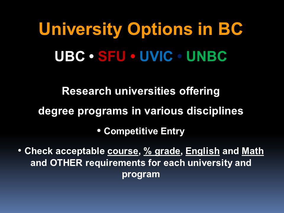 University Options in BC UBC SFU UVIC UNBC Research universities offering degree programs in various disciplines Competitive Entry Check acceptable course, % grade, English and Math and OTHER requirements for each university and program